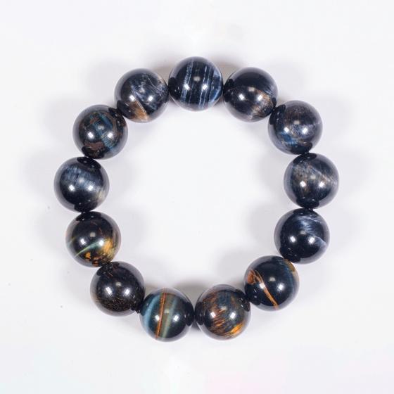 Vòng tay phong thủy nam đá mắt hổ xanh đen 16mm mệnh thủy , mộc - Ngọc Quý Gemstones