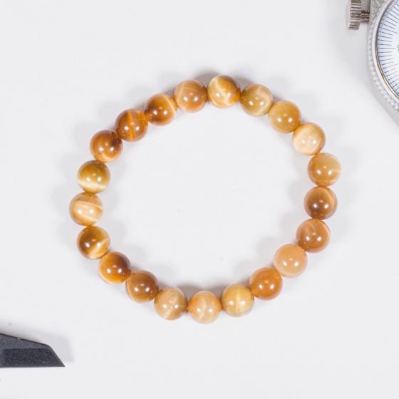 Vòng tay phong thủy nữ đá mắt hổ vàng tâm 8mm mệnh thổ , kim - Ngọc Quý Gemstones