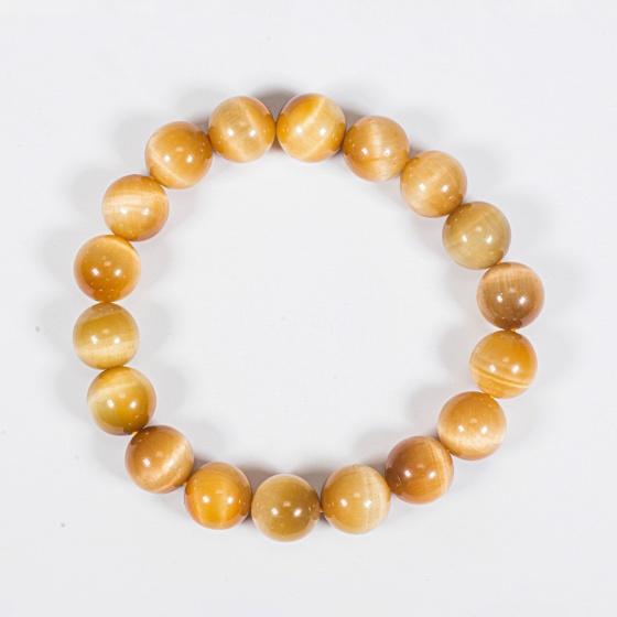 Vòng tay phong thủy đá mắt hổ vàng tâm 10mm mệnh thổ , kim - Ngọc Quý Gemstones