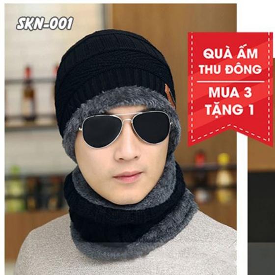 Mũ và khăn len có lớp lót bông giữ nhiệt unisex 5 màu tùy chọn