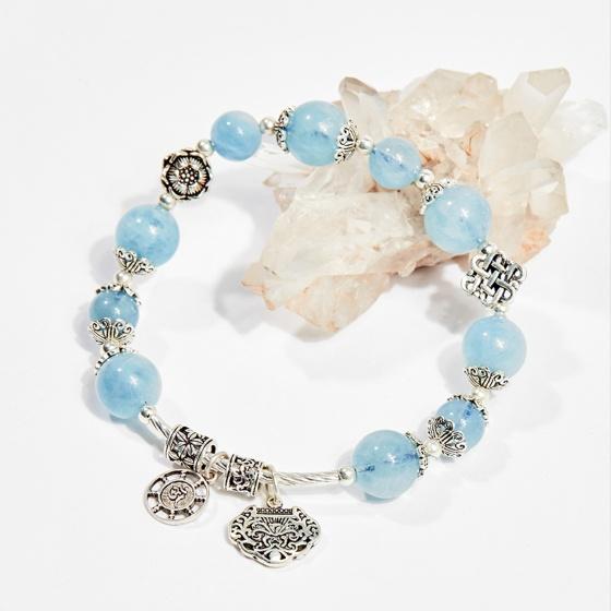 Vòng tay phong thủy nữ đá aquamarine charm túi như ý 8mm mệnh thủy, mộc - Ngọc Quý Gemstones