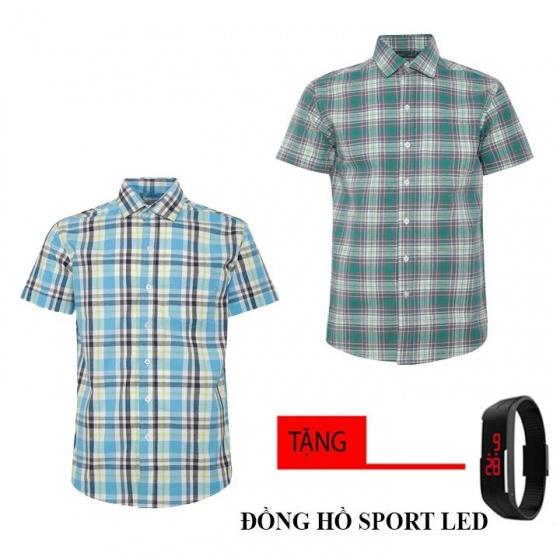 Bộ 2 áo sơ mi ngắn tay sọc caro thời trang tặng kèm đồng hồ Sport Led MSMI8343