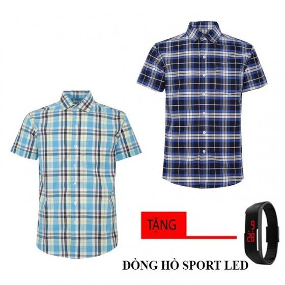 Bộ 2 áo sơ mi ngắn tay sọc caro thời trang tặng kèm đồng hồ Sport Led MSMI8345
