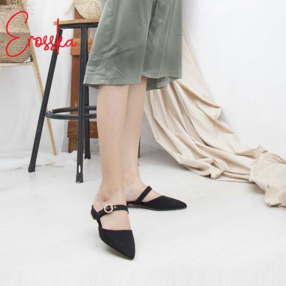 Giày nữ, giày mules cao gót Erosska da lộn phối belt thời trang cao 2cm - EM023 (BA)