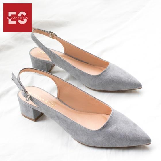 Giày nữ, giày cao gót vuông slingback Erosska bít mũi độc đáo cao 3 cm EL011 (BU)