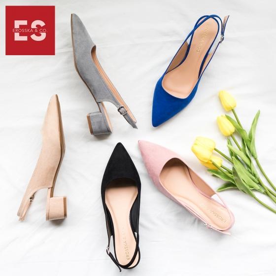 Giày nữ, giày cao gót vuông slingback Erosska bít mũi độc đáo cao 3 cm EL011 (BA)