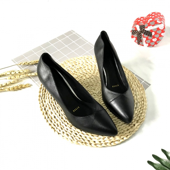Giày cao gót nữ da thật cao 5cm họa tiết khâu mũi 5PKMCN Lucacy