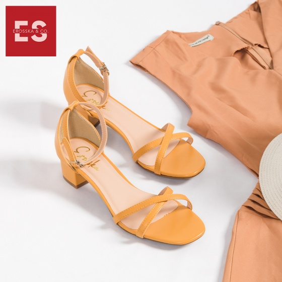 Giày nữ, giày cao gót đế vuông Erosska cao 3cm thời trang thiết kế phối màu sang trọng EB005 (ge)