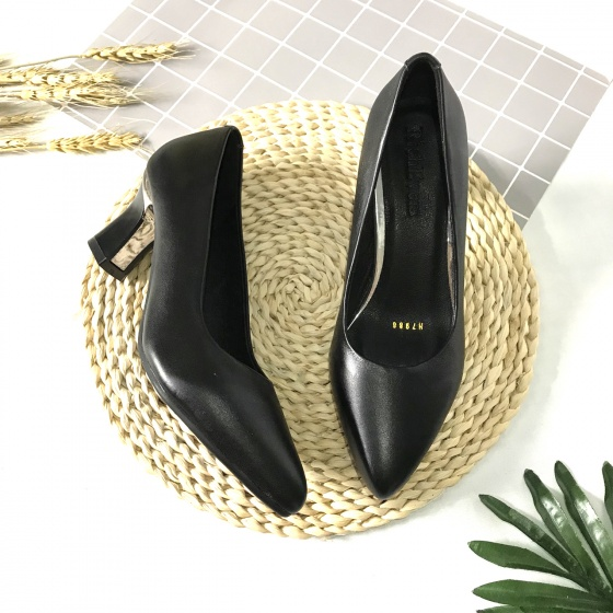 Giày cao gót nữ da thật cao 5cm trơn 5PTGK Lucacy