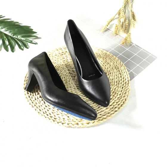 Giày cao gót nữ da thật cao 5cm trơn gót nhọn 5PTGN Lucacy