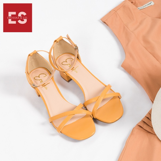 Giày nữ, giày cao gót đế vuông Erosska cao 3cm thời trang thiết kế phối màu sang trọng EB005 (YE)