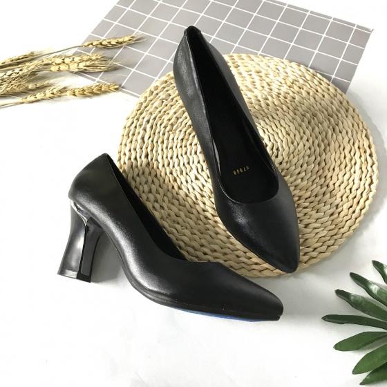 Giày cao gót nữ da thật cao 7cm trơn 7PTGK Lucacy