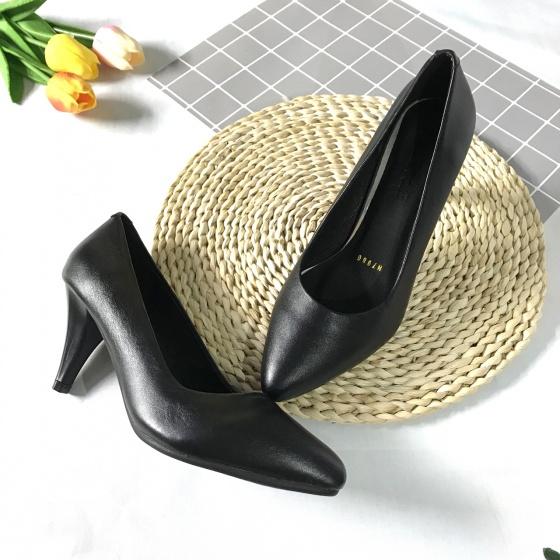 Giày cao gót nữ da thật cao 7cm trơn gót nhọn 7PTGN Lucacy