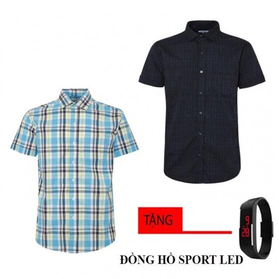 Bộ 2 áo sơ mi ngắn tay sọc caro thời trang tặng kèm đồng hồ Sport Led MSMI8347