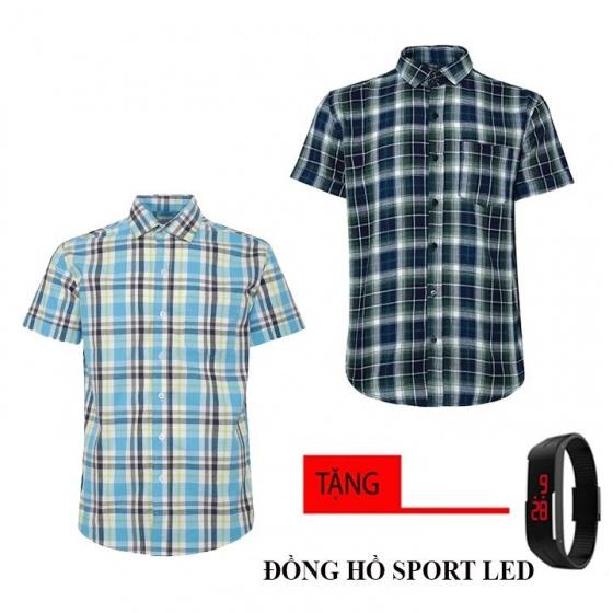 Bộ 2 áo sơ mi ngắn tay sọc caro thời trang tặng kèm đồng hồ Sport Led MSMI8353