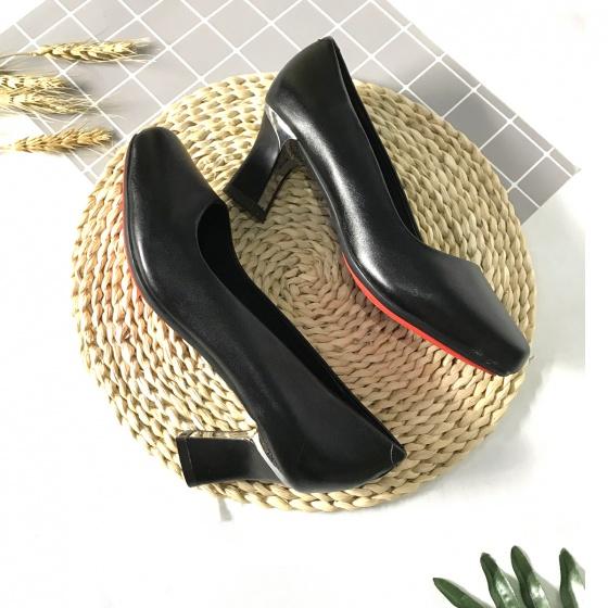 Giày cao gót nữ da thật cao 5cm mũi vuông 5PMV Lucacy