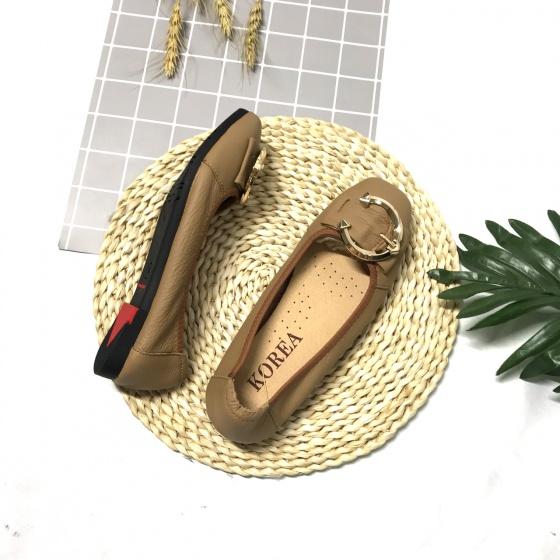 Giày búp bê nữ da thật gắn đai sắt H02 Lucacy