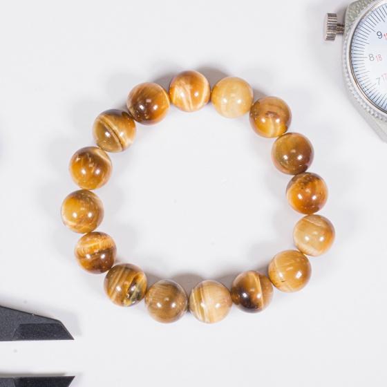 Vòng tay phong thủy đá mắt hổ vàng tâm 12mm mệnh thổ, kim - Ngọc Quý Gemstones