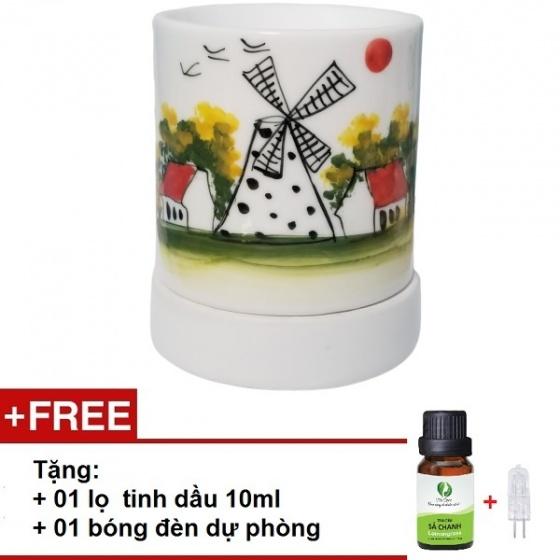 Đèn xông tinh dầu gốm bát tràng dáng ống tặng 01 tinh dầu 10ml (mùi tự chọn) và 01 bóng đèn dự phòng (ON06)