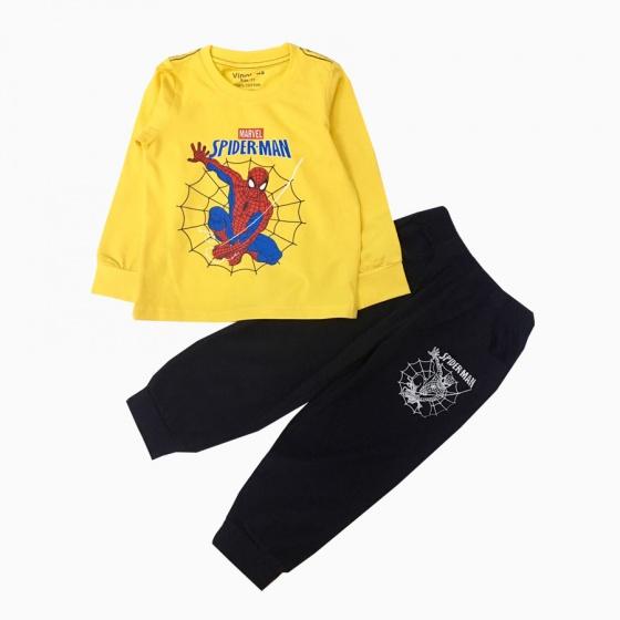 Đồ bộ bé trai dài tay siêu nhân mạng nhện Vinakids màu vàng (1-7 tuổi)