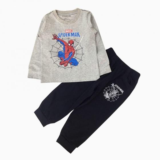 Đồ bộ bé trai dài tay siêu nhân mạng nhện Vinakids màu ghi (1-7 tuổi)