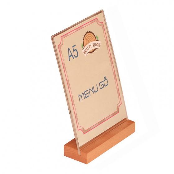 Menu mica A5 đế gỗ Nhatvywood NV5102