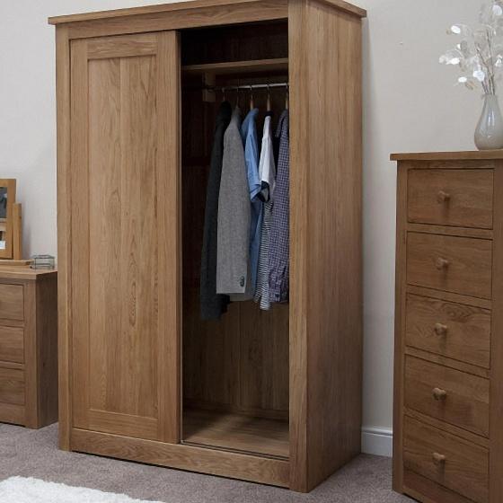 Tủ quần áo cửa lùa hai cánh nhỏ Torino gỗ sồi 1m2 - Cozino