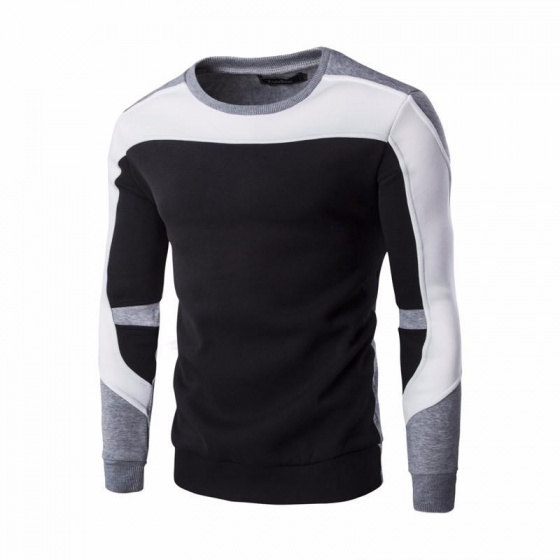 Áo thun dài tay thu đông nỉ da cá phối màu Bonado TTD1493D - đen
