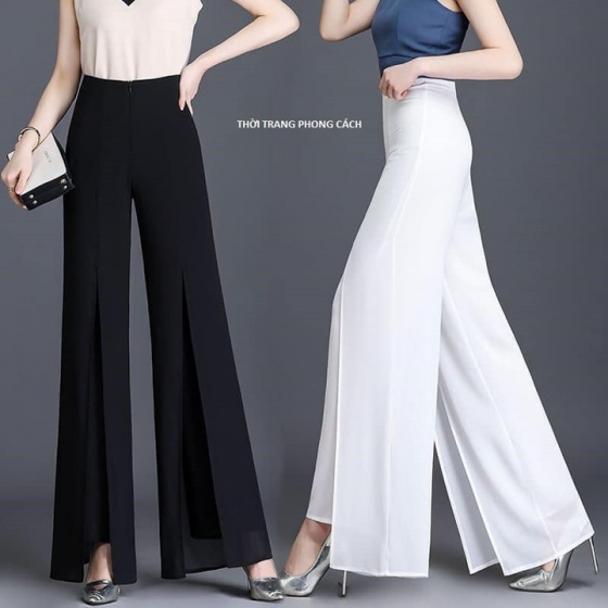 Quần culottes, quần nữ ống rộng 2 lớp, quần nữ thời trang