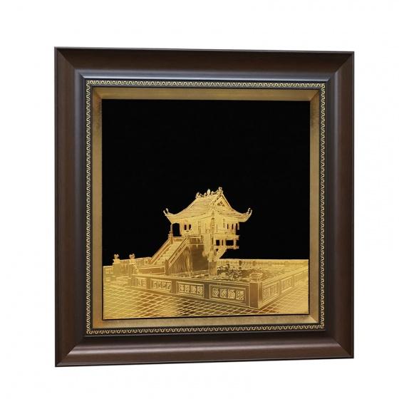 Tranh chùa Một Cột mạ vàng 24K - quà tặng lưu niệm Hà Nội