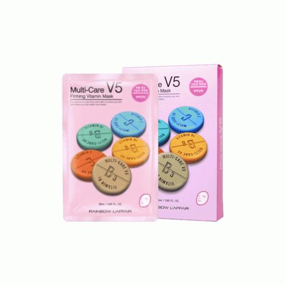 Mặt nạ chống lão hóa, ngừa mụn, săn chắc da Rainbow L'affair Multi-Care V5 Firming Vitamin Mask (10 miếng x 25ml)