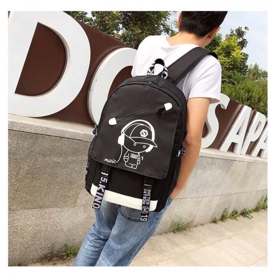Balo nam thời trang Hàn Quốc hình boymusic cao cấp Praza - BL176 (tặng cáp usb)