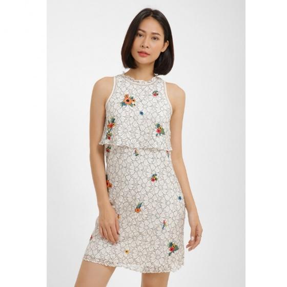 Đầm trắng ren họa tiết thêu MD'M MD67508002-ECRU