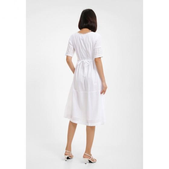 Đầm trắng phối ren MD'M MD67505107-WH