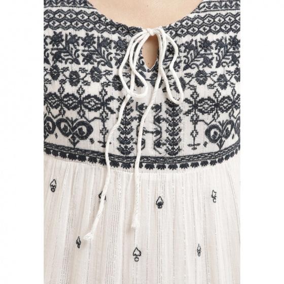 Đầm midi trắng thêu hoa Luna Llena LN114BX65-NV