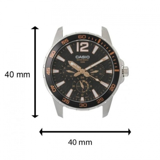Đồng hồ nam Casio MTD-330L-1A3VDF dây da thật mặt viền mạ vàng