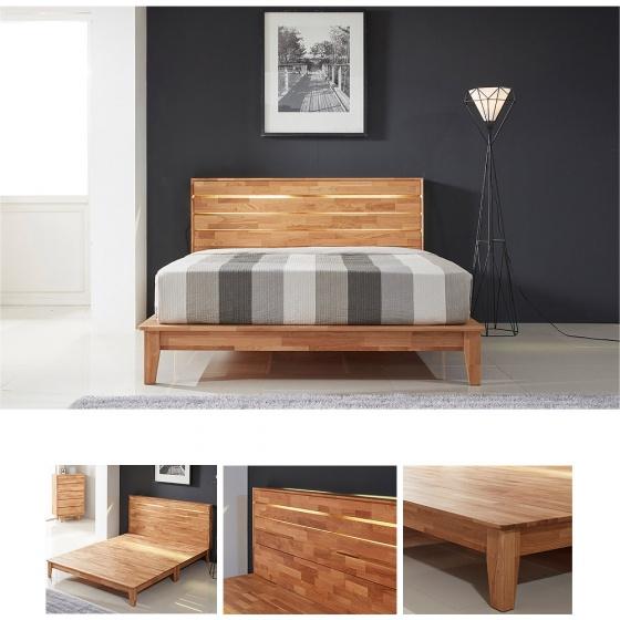 Giường đôi Calla gỗ cao su 1m8 - Cozino
