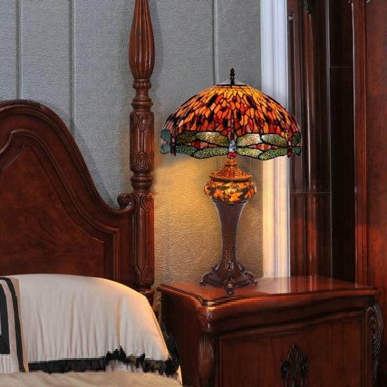 Đèn bàn trang trí Tiffany 46 chuồn chuồn hổ phách