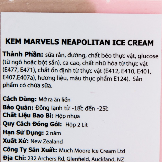 Kem New Zealand Much More Marvels Neapolitan 3 vị hộp 2L (28 viên)