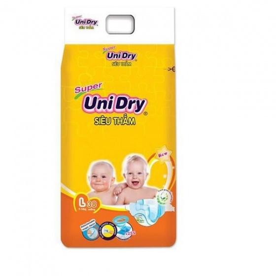 (Tặng 1 thú bông con mèo) combo 2 tã dán Unidry size M42_ size L38 _ size XL34