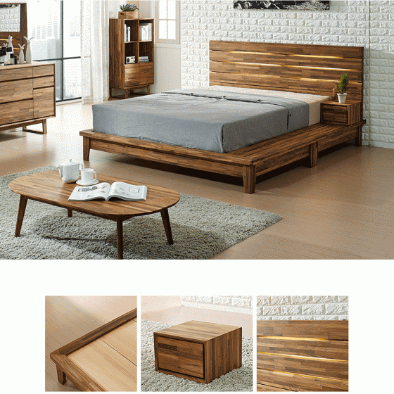 Giường đôi Begonia liền tủ đầu giường gỗ cao su 1m8 - Cozino