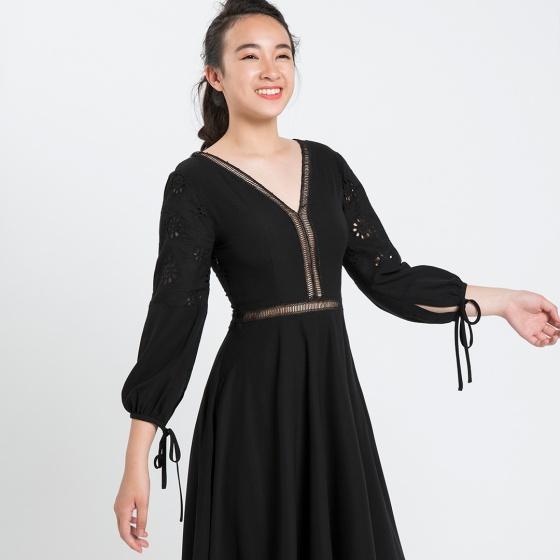 Đầm xòe Hity DRE075 (đen huyền bí)