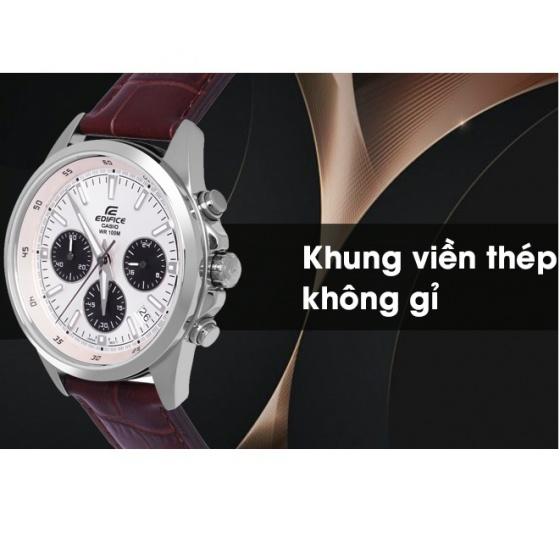 Đồng hồ nam Casio EDIFICE EFR-527L-7AVUDF dây da nâu - mặt trắng 6 kim