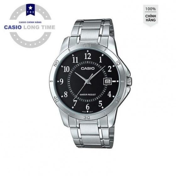Đồng hồ nam Casio MTP-V004D-1BUDF dây kim loại mạ bạc - mặt tròn nền đen số trắng - Chống nước