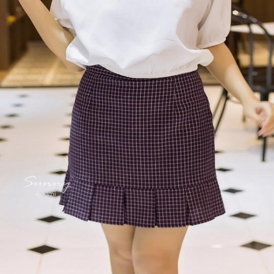 Chân váy caro xếp bèo lót quần VN190027