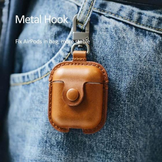 Bao da tai nghe Airpods kèm móc khóa USAMS US-BH475 Leather Case (màu da)