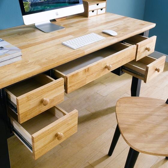 Bàn làm việc lớn Lantana 5 ngăn gỗ cao su - Cozino