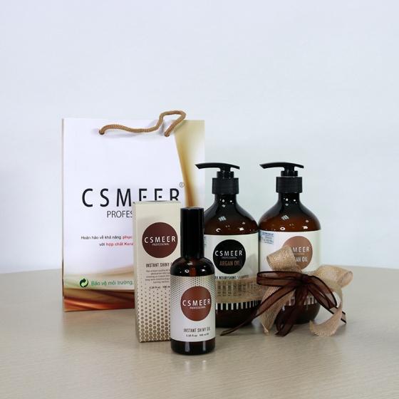 Bộ gội - xả dành cho tóc xơ Csmeer Profestional Argan Oil 500ml