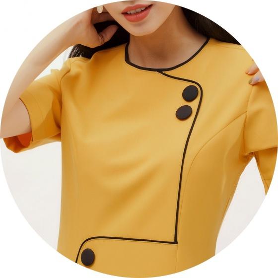 Đầm suông thời trang Eden viền đen đính nút màu vàng - D381