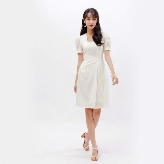Đầm công sở thời trang Eden tay phồng cổ vuông - D380